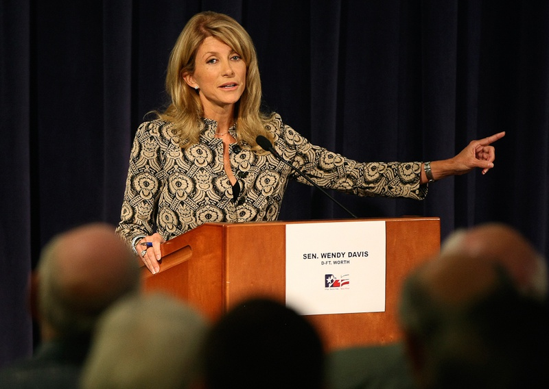 State Sen. Wendy Davis, D-Fort Worth, faces Mark Shelton in a District 10 Senate debate at the Tarrant County College Trinity River Campus in Fort Worth on Oct. 11, 2012.