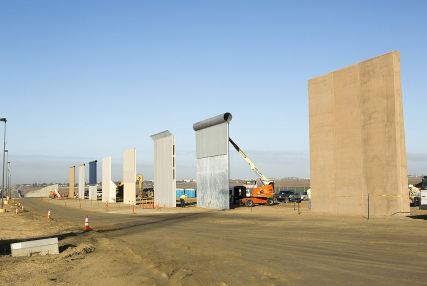 Ground views of different border wall prototypes as they take shape during the Wall Prototype Construction Project near the Otay Mesa Port of Entry on the U.S./Mexico border south of San Diego, California.
