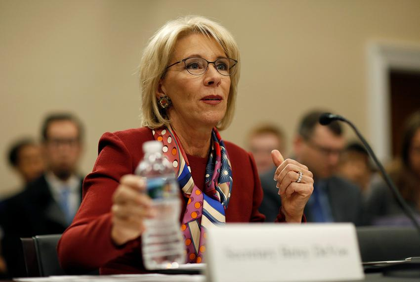 U.S. Secretary of Education Betsy DeVos testifies to the House Appropriations Labor, Health and Human Services, Education,...
