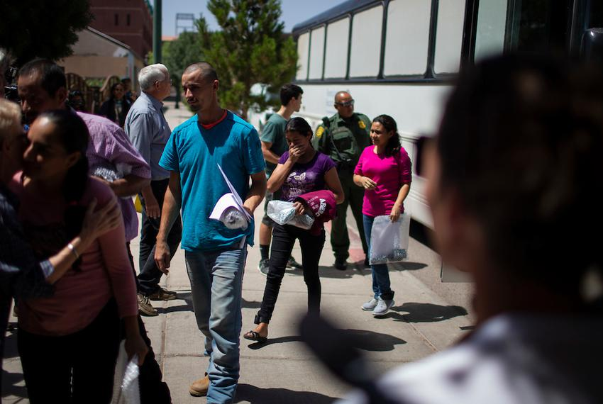 Immigrants arrive at the Casa Vides Annunciation House shelter after being released from U.S. CBP custody, Sunday, June 24...