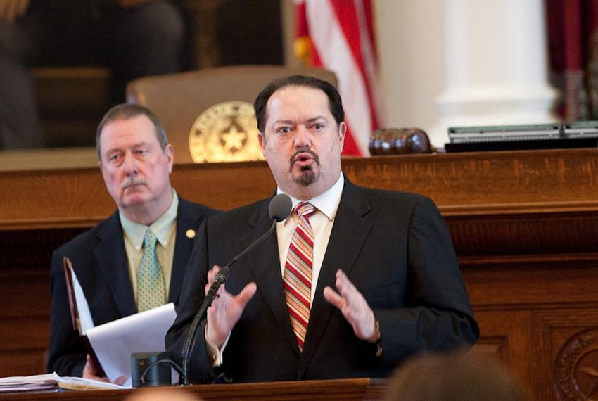 Rep. Rene Oliveira, D-Brownsville, right, during an eminent domain debate in April 2011.