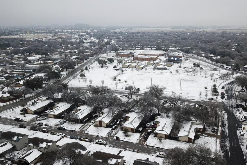 An aerial view of the Dove Springs neighborhood in South Austin after a severe snowstorm dumped heavy snow and plummeted tem…