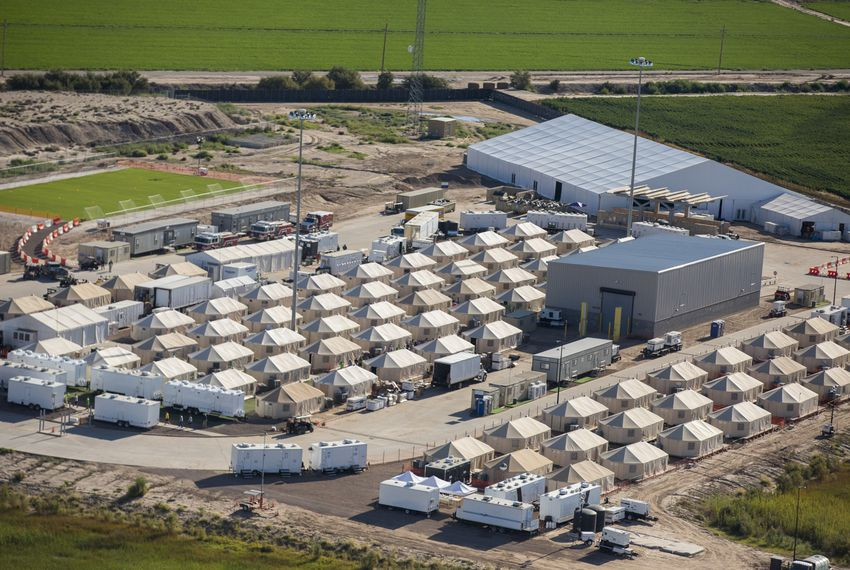 "An aerial view of the ""tent city"" in Tornillo, Texas, on Wednesday, Sept. 12, 2018. The shelter opened in June."