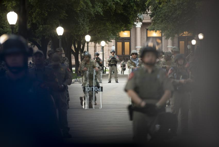 State Troopers stand guard on the state Capitol grounds during a protest against the death of George Floyd. June 2, 2020.
