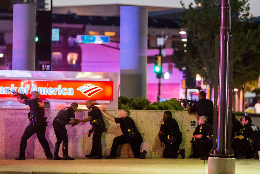 Dallas Police respond to a sniper attack at a Black Lives Matter rally in downtown Dallas.