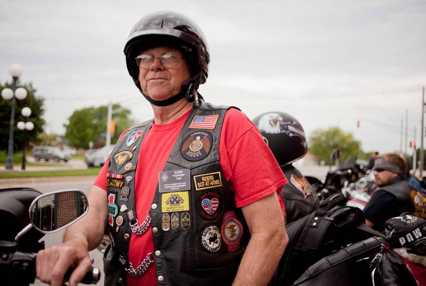 Edwin Top of Orange City, Iowa, prepares to ride from Perry to Boone, Iowa, on June 6, 2015, as part of the Ride with Rick...