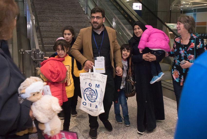 The Almohammad family, a refugee family from Syria, arrives at Austin-Bergstrom International Airport late at night on Feb. 6, 2017.