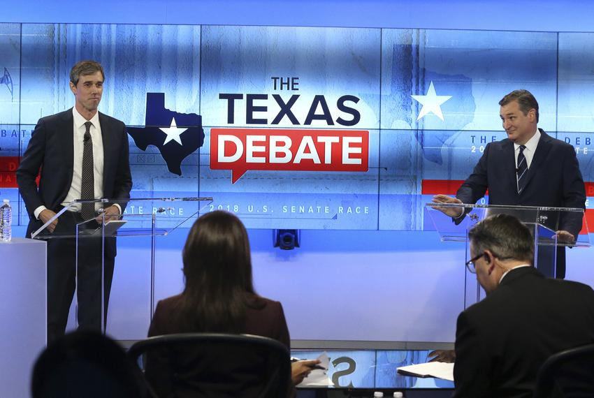 U.S. Rep. Beto O'Rourke, D-El Paso, left, faces U.S. Senator Ted Cruz, R-Texas, in debate at the KENS 5 Studios in San Ant...