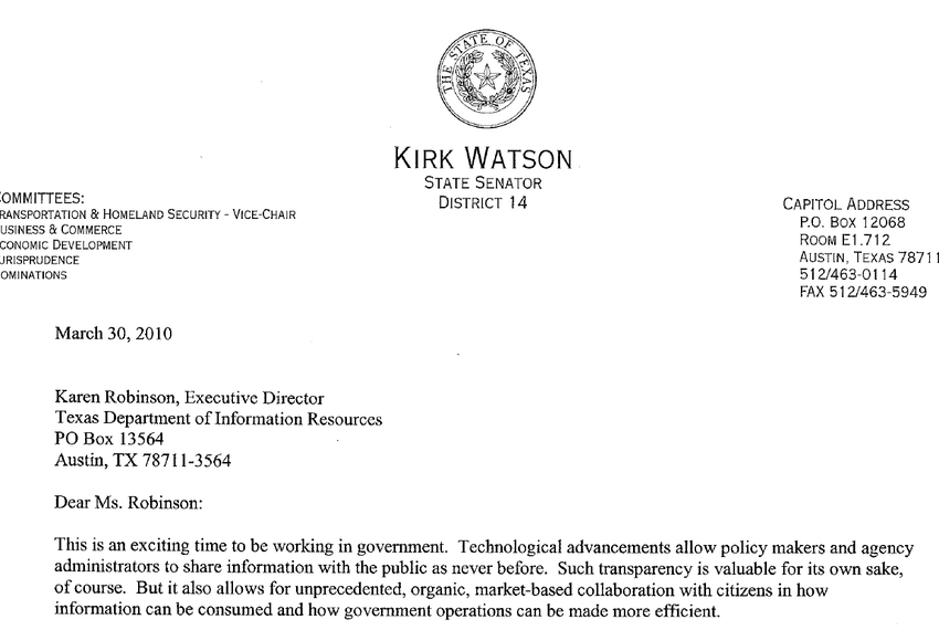 State Sen. Kirk Watson sent a letter urging more government transparency to the Texas Department of Information Resources,...