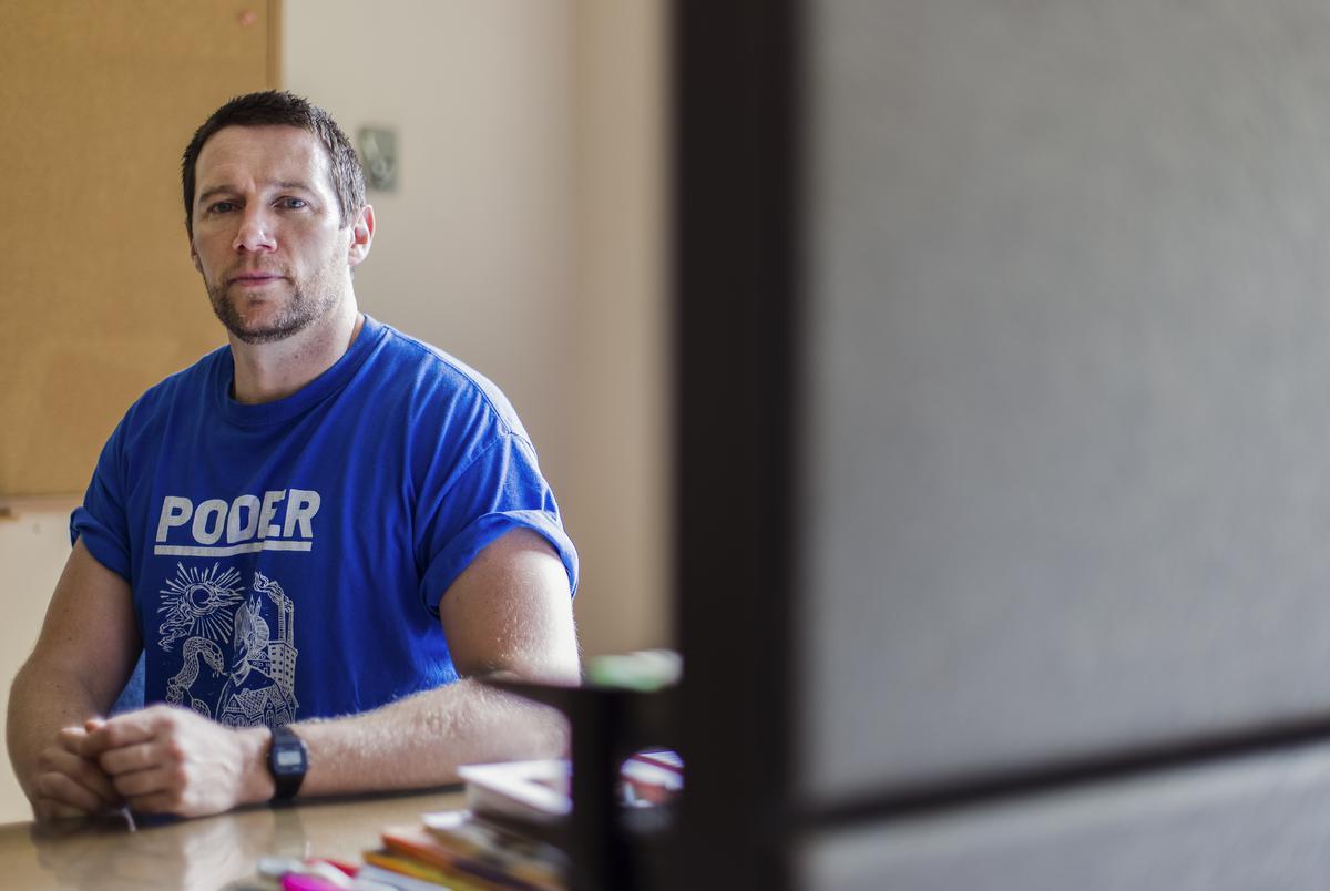 Luke Amphlett is a San Antonio Independent School District teacher. Aug. 3, 2021.