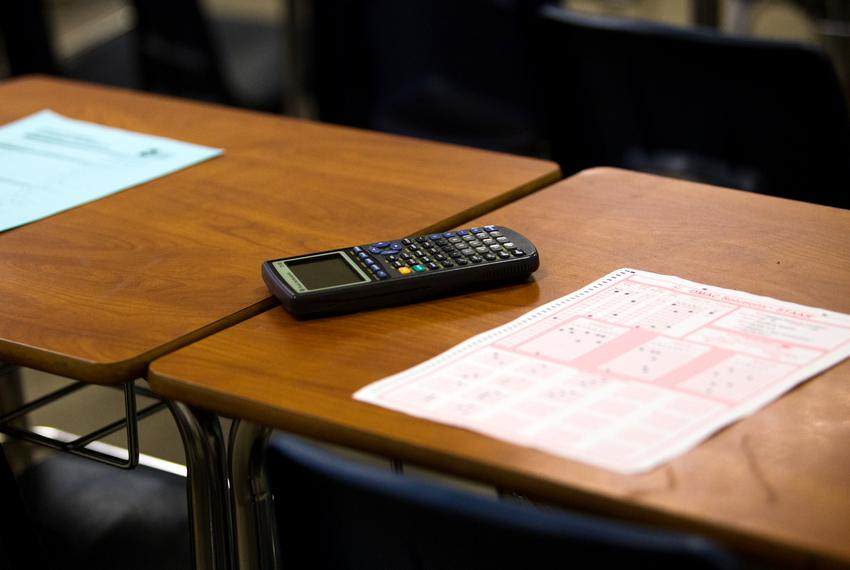 A calculator and a test sheet on a desk at Elsik High School  in 2018.