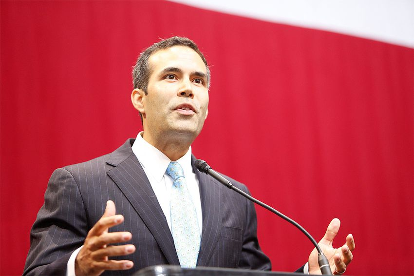 Land Commissioner George P. Bush speaking at the GOP election night party at the Moody Theater in Austin on Nov. 4, 2014.