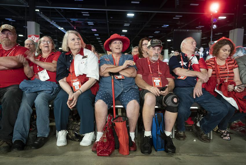 Attendees at the Henry B. Gonzalez Convention Center in San Antonio take part in the first day of the Republican Party of Te…