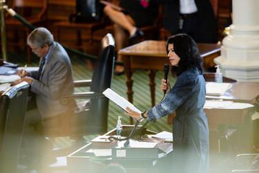 State Sen. Carol Alvarado, D-Houston, filibusters against Senate Bill 1 on Aug. 11, 2021.