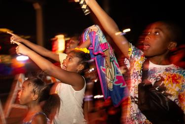 """A fireworks show happily surprised some children during the conclusion of the """"I Am Juneteenth Festival"""" at the Panther Island Pavilion in Fort Worth on June 19, 2021."""