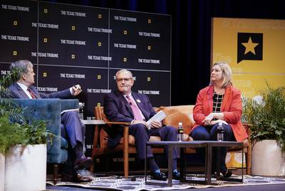 From left: John Harwood moderates a panel with El Paso Mayor Dee Margo and Dayton, Ohio, Mayor Nan Whaley.