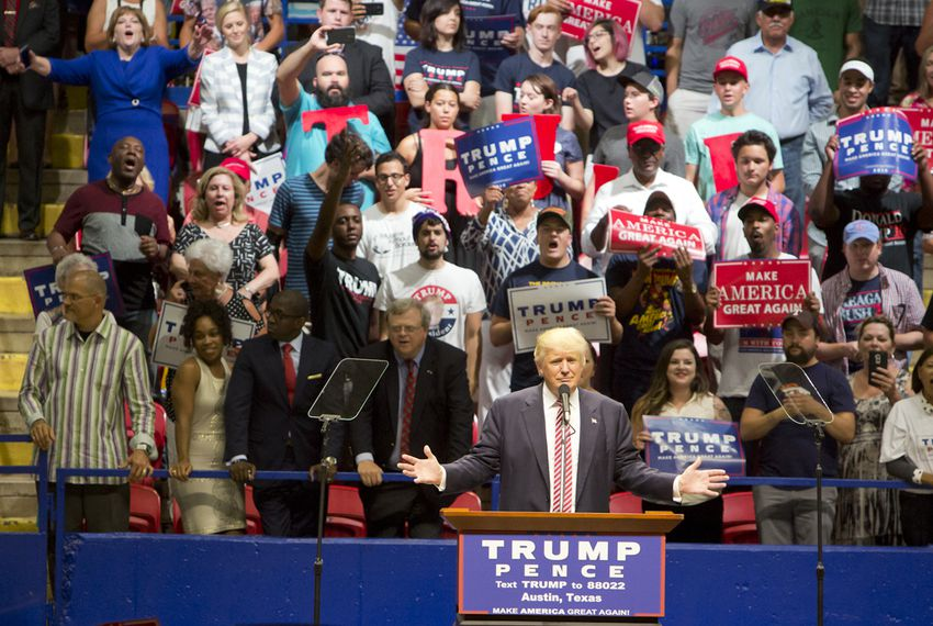 Republican presidential nominee Donald Trump speaks at an Aug. 23, 2016, rally in Austin.
