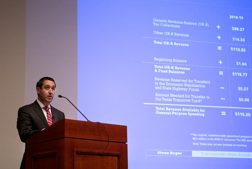 Comptroller Glenn Hegar discusses the Biennial Revenue Estimate for the 2020-21 biennium at the state capitol.  Jan. 7, 2019.