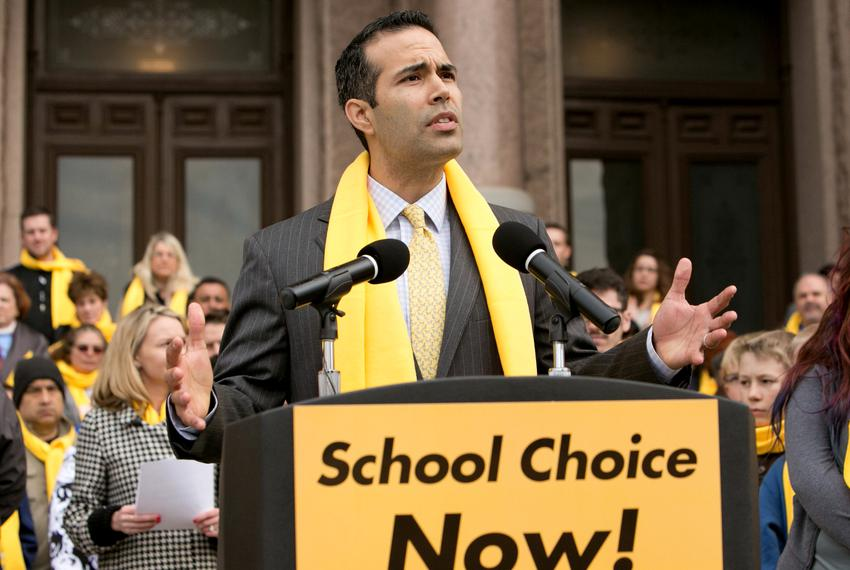 Texas Land Commissioner George P. Bush speaks at a rally for school choice at the Texas Capitol on June 14, 2019.