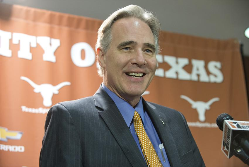 New Texas athletic director Steve Patterson at his introductory press conference on Novembeer 7, 2013.
