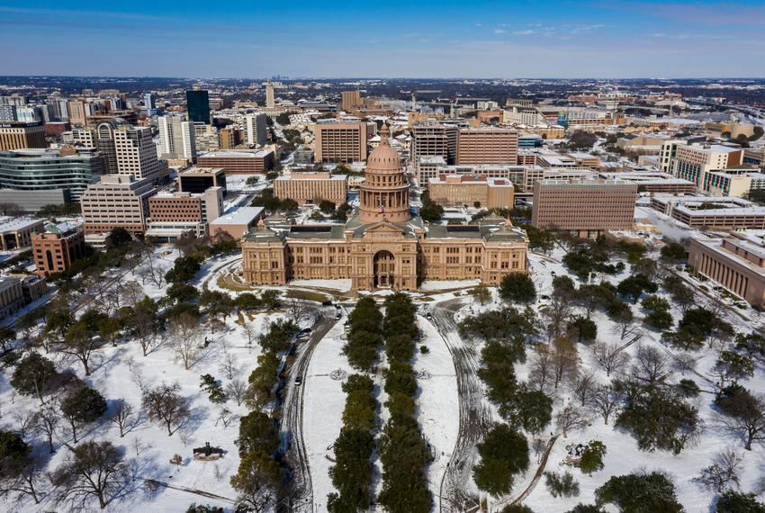 The Texas Capitol during the winter storm on Feb. 16, 2021.
