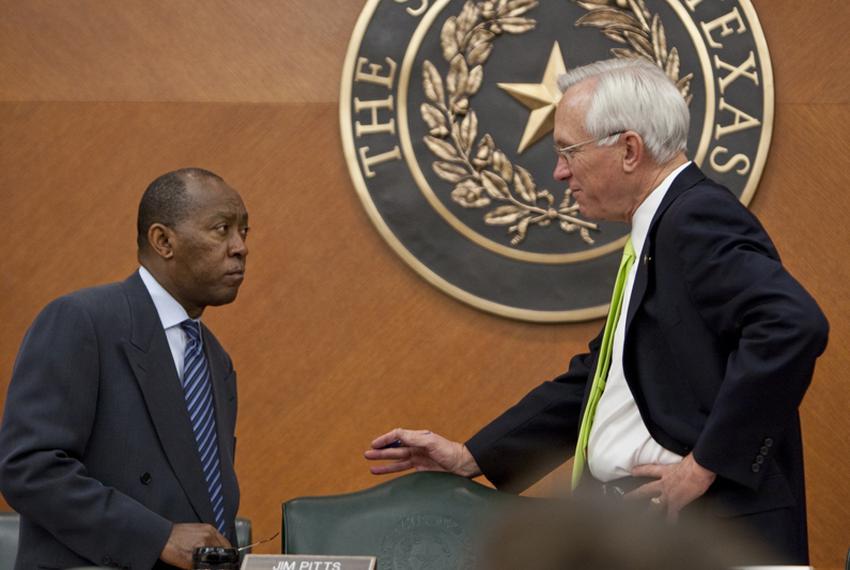 Rep. Sylvester Turner D-Houston, speaks with Sen. Steve Ogden R-Bryan during finance committee hearing on May 23rd, 2011