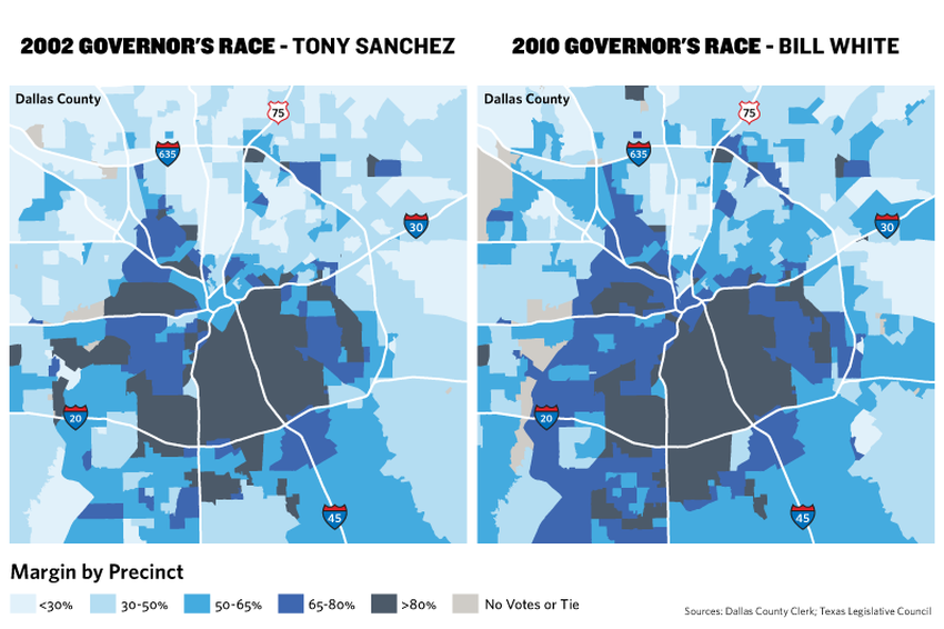 Dallas County Has Grown Increasingly Democratic In The Last Decade In The Map Darker