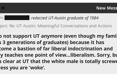An illustration of an email sent to UT-Austin obtained in a public records request.