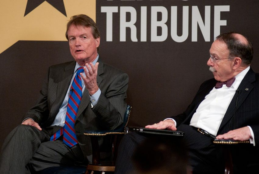 William Powers Jr., UT President and R. Bowen Loftin, Texas A&M President at TribLive on April 28, 2011.