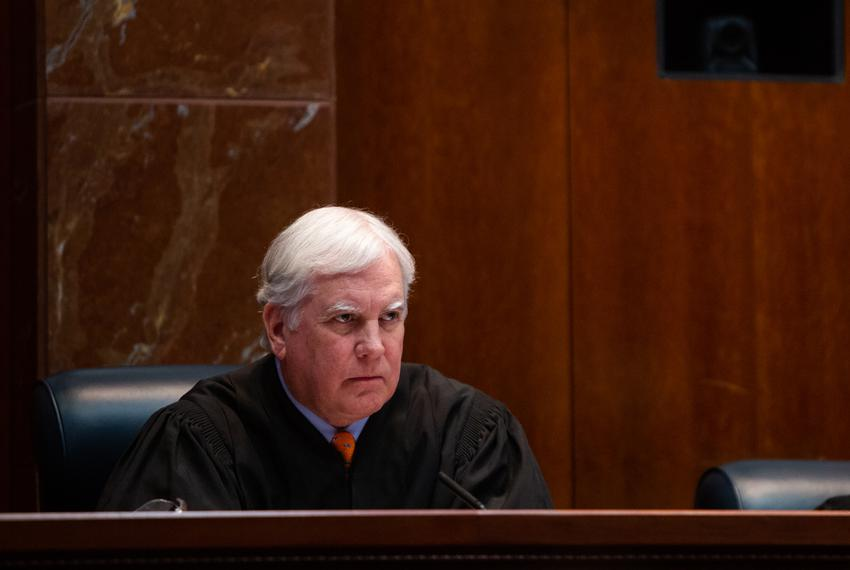 Justice Paul Green hears arguments at the Texas Supreme Court in 2019.