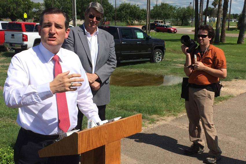 U.S. Sen. Ted Cruz, R-Texas, holds a news conference Tuesday in Edinburg after a briefing with law enforcement officials. ...