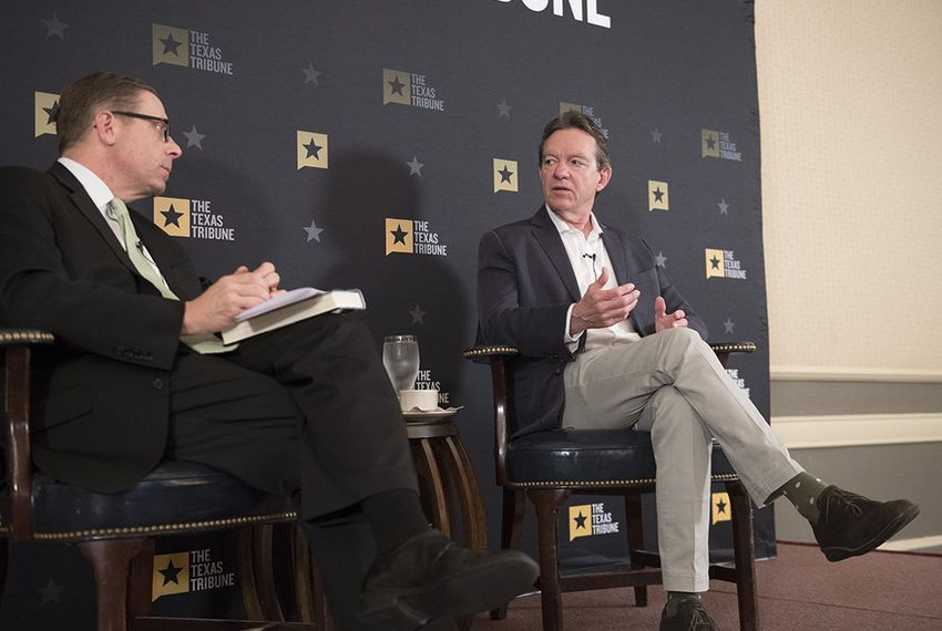 Lawrence Wright speaks with Texas Tribune CEO Evan Smith on May 10, 2018.