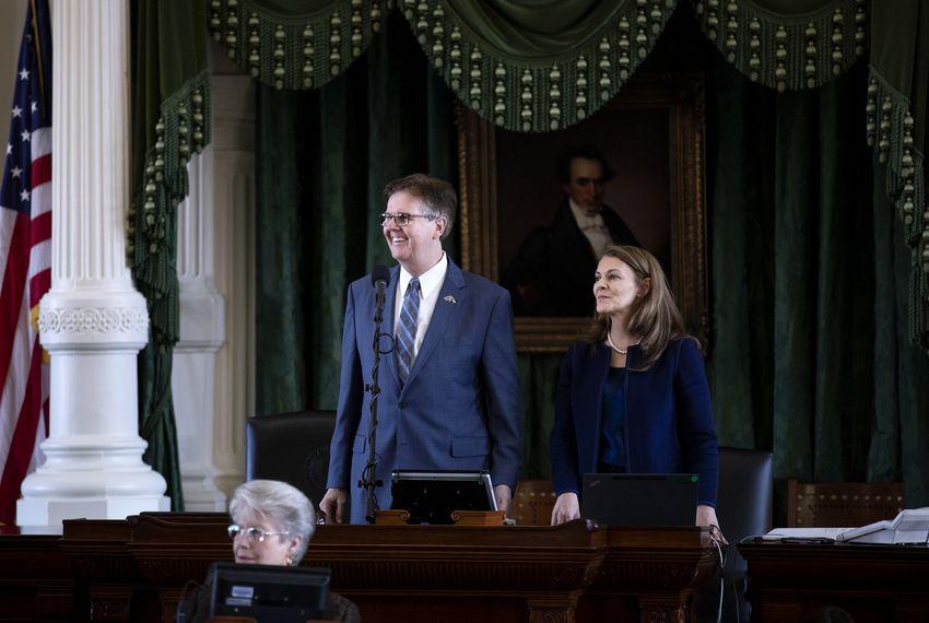 Lt. Gov. Dan Patrick and Senate Parliamentarian Karina Davis on the senate floor.