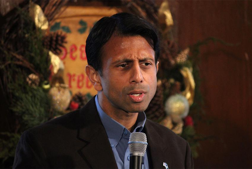 Louisiana Gov. Bobby Jindal stumping for Gov. Rick Perry in Maquoketa, Iowa, on Dec. 20, 2011.