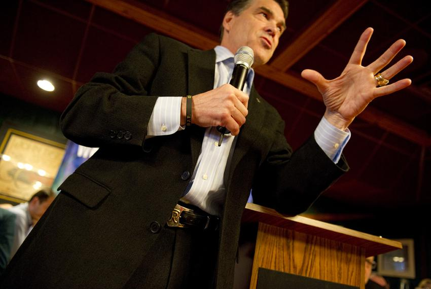 Rick Perry speaks to a conservative breakfast group in Urbandale, Iowa on December 28, 2011