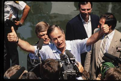 Presidential candidate George H.W. Bush campaigns in 1988 on the San Antonio River Walk. |