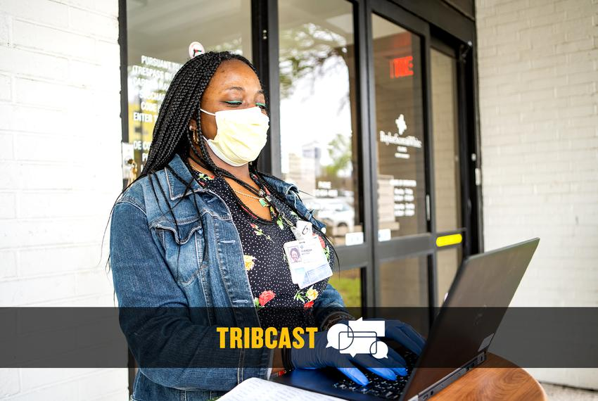 Theresa Riggens, a healthcare worker for Baylor, Scott, and White Medical Center is stationed outside their office in Nort...