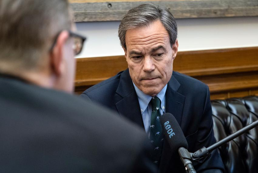 Texas Tribune CEO Evan Smith records an interview for a Texas Tribune podcast with Texas House Speaker Joe Straus, in the ...