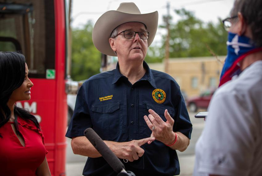 Lt. Gov. Dan Patrick at a campaign bus tour stop in Granger on Sept. 3, 2020.