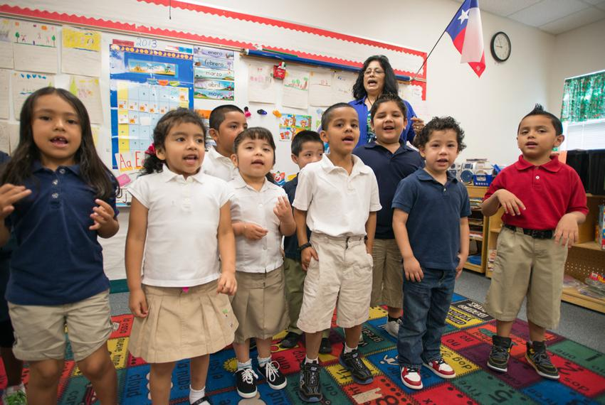 Students in Pre-K teacher Josefina Pineda's class sing to practice their language skills at the Dallas Independent School Di…