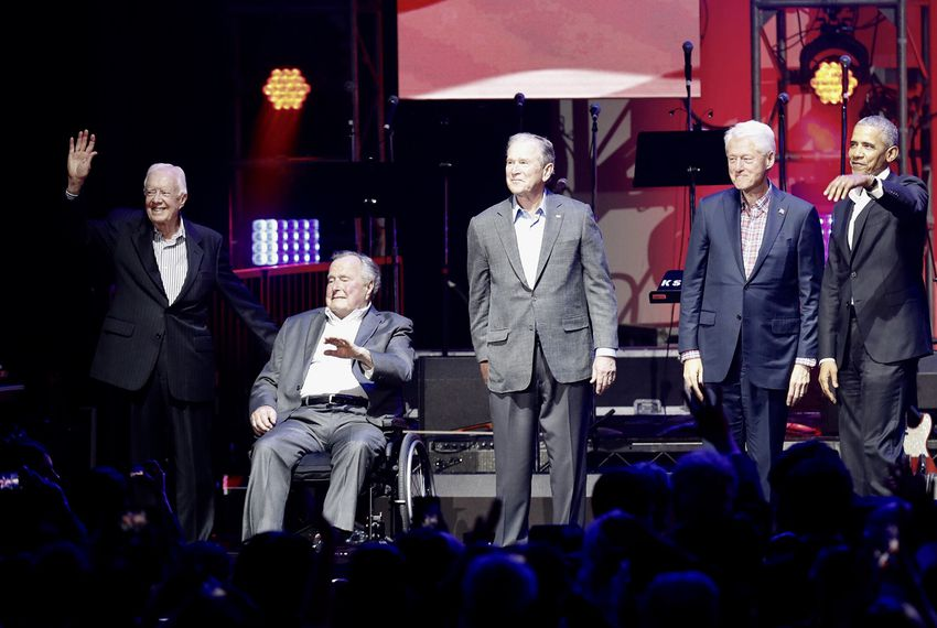 """Former Presidents Jimmy Carter, George H.W. Bush, George W. Bush, Bill Clinton and Barack Obamaat a concert benefiting hurricane relief efforts called """"Deep From the Heart: The One America Appeal,"""" in College Station on Saturday, Oct. 21, 2017."""
