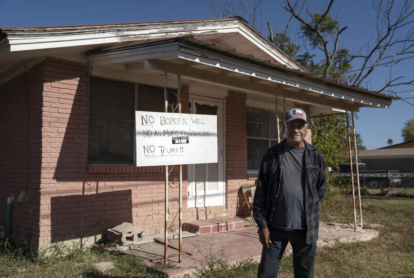 Ruben Solís in front of his house in La Grulla on Dec. 17, 2020.