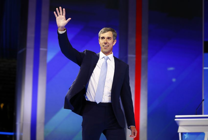 Former U.S. Rep. Beto O'Rourke takes the stage for the start of the 2020 Democratic U.S. presidential debate in Houston.