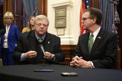 State Sen. Paul Bettencourt and Lt. Gov. Dan Patrick speak at a joint press conference addressing property tax reform on Jan. 31, 2019. They were joined by Gov. Greg Abbott, House Speaker Dennis Bonnen and state Rep. Dustin Burrows.