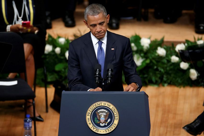 U.S. President Barack Obama speaks during a memorial service following the multiple police shootings in Dallas on July 12, 2016.