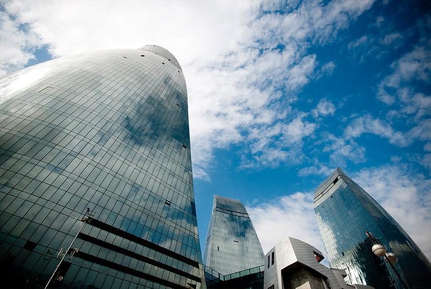 The Flame Towers in Baku, Azerbaijan.