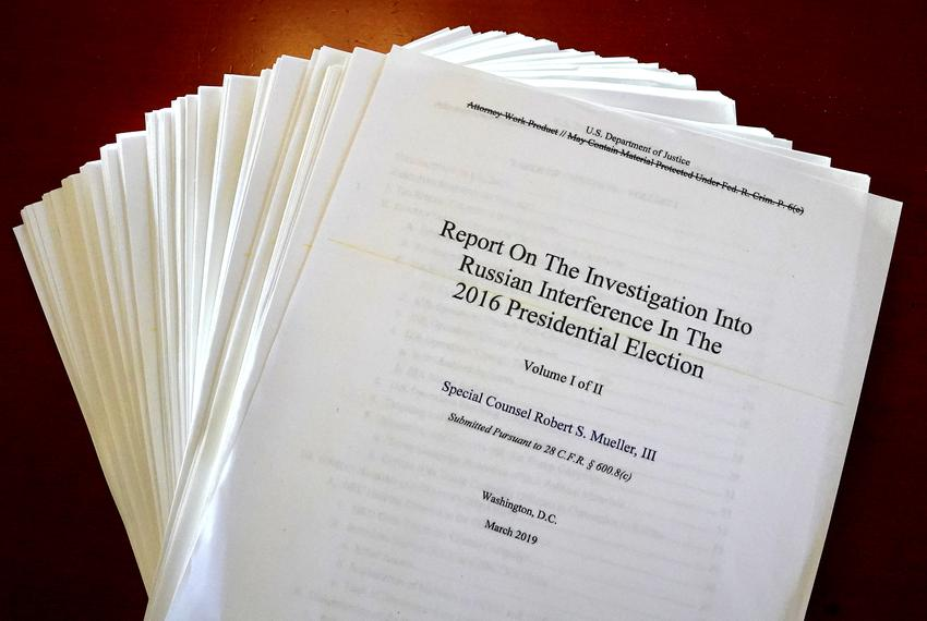 The Mueller Report on the Investigation into Russian Interference in the 2016 Presidential Election is pictured in New Yor...