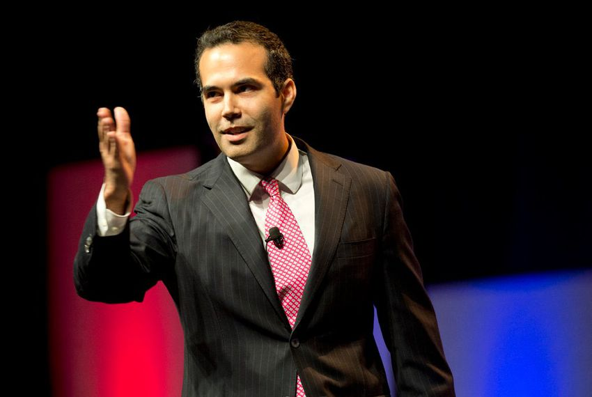 Land Commissioner candidate George P. Bush greets the Republican crowd in Fort Worth on June 5, 2014.