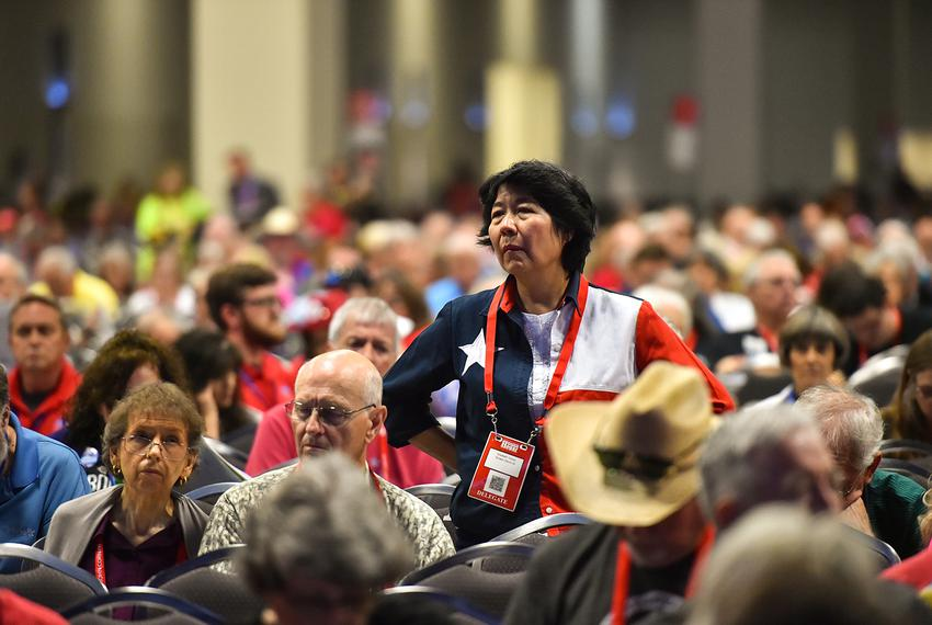 Delegate Elizabeth Victory listens to discussions during the final afternoon of the Republican Party of Texas convention in …