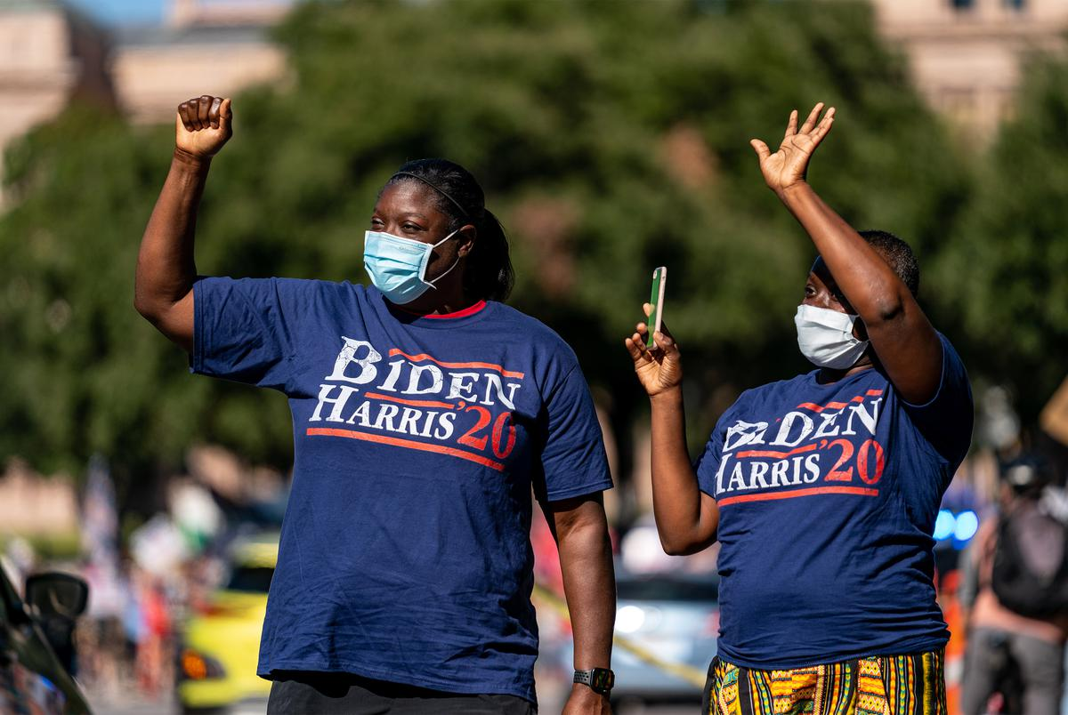 Supporters of President-elect Joe Biden gather at the state Capitol  after Biden was declared the winner of the 2020 Presidential Election. Nov. 7, 2020.